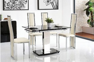 Enzo 80-120cm Extending Glass Dining Table with 6 Elsa Designer Dining Chairs [Ivory]