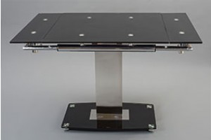 Enzo 80-120cm Extending Glass Dining Table - Front Picture Extended
