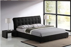 Fabio 5ft King Size Faux Black Leather Designer Bed and Mattress sets