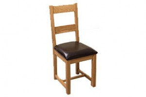 Lincoln Solid Oak Dining Chair [Light Oak and Brown Leather]
