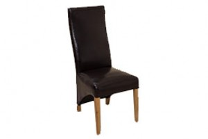 Front of Lola Curved Back Dining Chair [Brown Leather]