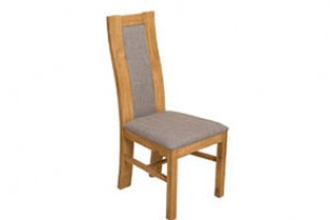 Stanford Solid Oak Dining Chair [Light Oak and Grey Fabric]
