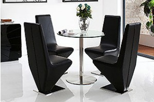 Target Round Glass and Steel 80cm Dining Table with 4 Rita Designer Dining Chairs [Black]