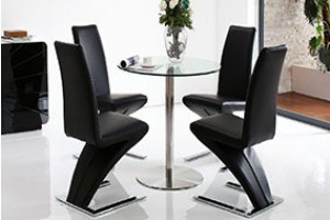 Target Round Glass and Steel 80cm Dining Table with 4 Zed Designer Dining Chairs [Black]