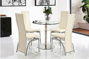 Target Round Glass and Steel 80cm Dining Table with 2 Alisa Dining Chair [Ivory]