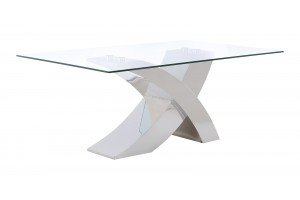 Valencia Modern Glass and Stainless Steel Cross Leg Design Dining Room Table