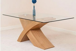 Valencia Oak 160cm Wood and Glass Dining Table
