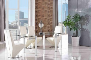 Verona Extending Glass Dining Table with 6 Rita Designer Dining Chairs [Ivory]
