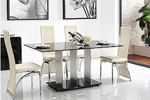 Vienna Black Glass 160cm Dining Table with 4 Alisa Dining Chair [Ivory]