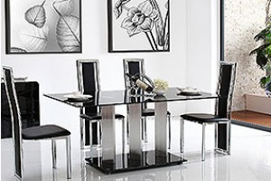 Vienna Black Glass 160cm Dining Table with 4 Elsa Designer Dining Chairs [Black]
