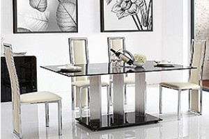 Vienna Black Glass 160cm Dining Table with 4 Elsa Designer Dining Chairs [Ivory]