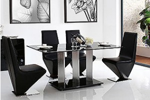 Vienna Black Glass 160cm Dining Table with 4 Rita Designer Dining Chairs [Black]