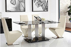 Vienna Black Glass 160cm Dining Table with 4 Rita Designer Dining Chairs [Ivory]