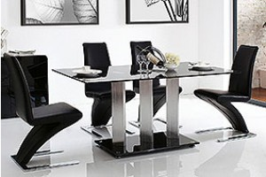 Vienna Black Glass 160cm Dining Table with 4 Zed Designer Dining Chairs [Black]