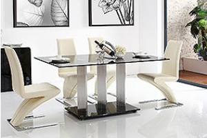 Vienna Black Glass 160cm Dining Table with 4 Zed Designer Dining Chairs [Ivory]