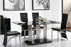 Vienna Black Glass 160cm Dining Table with 6 Alisa Dining Chair [Black]