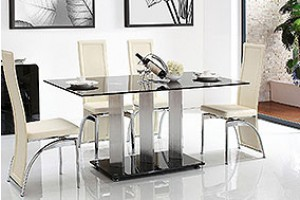 Vienna Black Glass 160cm Dining Table with 6 Alisa Dining Chair [Ivory]