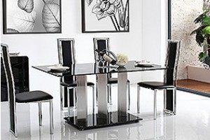 Vienna Black Glass 160cm Dining Table with 6 Elsa Designer Dining Chairs [Black]
