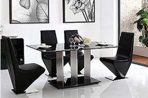 Vienna Black Glass 160cm Dining Table with 6 Rita Designer Dining Chairs [Black]