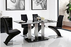 Vienna Black Glass 160cm Dining Table with 6 Zed Designer Dining Chairs [Black]