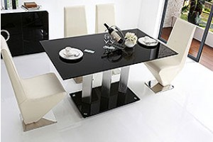 Vienna Black Glass 160cm Dining Table with 6 Zed Designer Dining Chairs [Ivory]