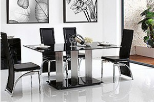 Vienna Black Glass 160cm Dining Table with 4 Alisa Dining Chair [Black]