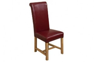 Washington Scroll Top Dining Chair [Burgundy Leather]