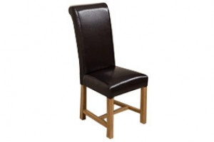Washington Scroll Top Dining Chair [Brown Leather]