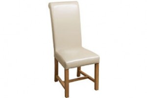Washington Scroll Top Dining Chair [Ivory Leather]