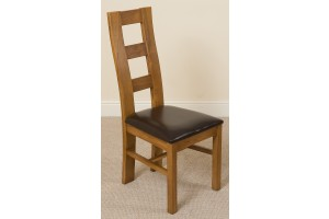 Yale Solid Oak Dining Chair [Rustic Oak and Brown Leather]