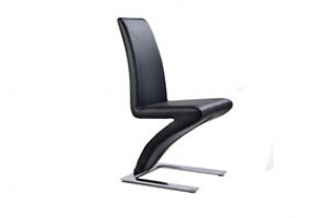 Zed Designer Dining Chairs [Black Leather]