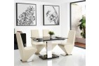 Front of Enzo 80-120cm Extending Glass Dining Table with 4 Rita Designer Dining Chairs [Ivory]