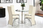 Side View Target Round Glass and Steel 80cm Dining Table with 2 Alisa Dining Chair [Ivory]