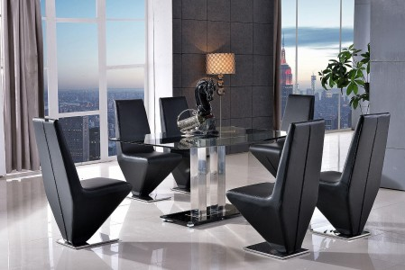 Roma Black Glass Dining Table with 6 Rita Designer Dining Chairs [Black]