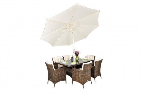 Savannah Rattan Garden Furniture [6 Seat Dining Set with Rectangular Table] With Parasol