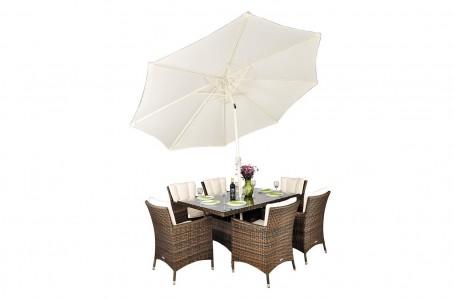 Savannah Rattan Garden Furniture [6 Seat Dining Set with Rectangular Table] With Parasol