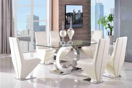 Front of Channel Glass and Polished Steel Dining Table with 6 Rita Designer Dining Chairs [Ivory]
