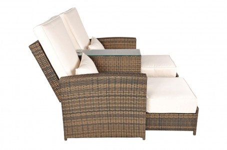 Left Side Nevada Rattan Garden Furniture [2 Seat Lounger Set]