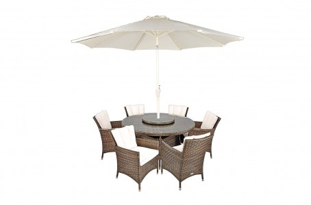 Savannah Rattan Garden Furniture [6 Seat Dining Set Plus Back Cushion] Parasol