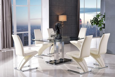 Roma Black Glass Dining Table with 6 Zed Designer Dining Chairs [Ivory]
