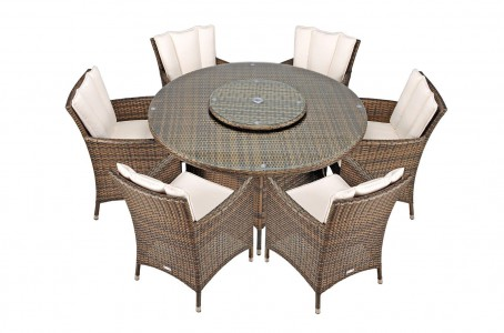 Savannah Rattan Garden Furniture [6 Seat Dining Set Plus Back Cushion] Side