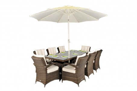 Front of Arizona Rattan Garden Furniture [8 Seat Dining Set with Rectangular Table]