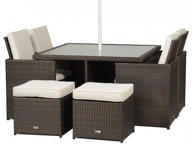 Front of Giardino Rattan Garden Furniture [4 Seat Cube Dining Set Plus Umbrella]