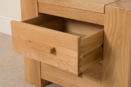 Kuba Solid Oak Bedside table - draw close up - Bedroom Furniture