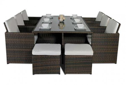 Left side of Giardino Rattan Garden Furniture [6 Seat Cube Dining Set Plus Umbrella]