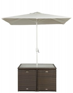 Giardino Rattan Garden Furniture [4 Seat Cube Dining Set Plus Umbrella] Parasol 2