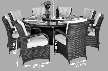 Arizona Rattan Garden Furniture [8 Seat Dining Set with Round Table] Dimensions