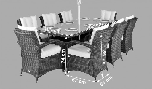 Arizona Rattan Garden Furniture [8 Seat Dining Set with Rectangular Table] Dimensions