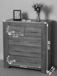 Kuba Solid Oak Chest of Drawers [2+3 drawer] - Dimensions