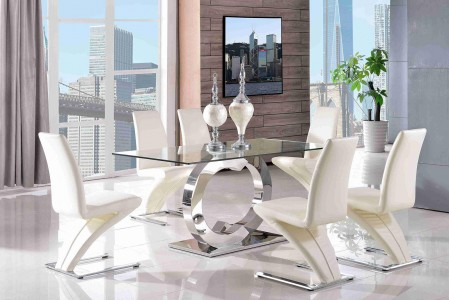 Front of Channel Glass and Polished Steel Dining Table with 6 Zed Designer Dining Chairs [Ivory]